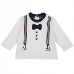 Tshirt blanca manga larga con corbata y tirantes