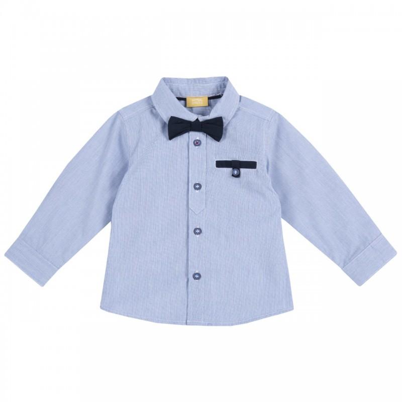 Camisa manga larga celeste con corbatín desmontable