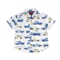 camisa manga corta con carros vintage